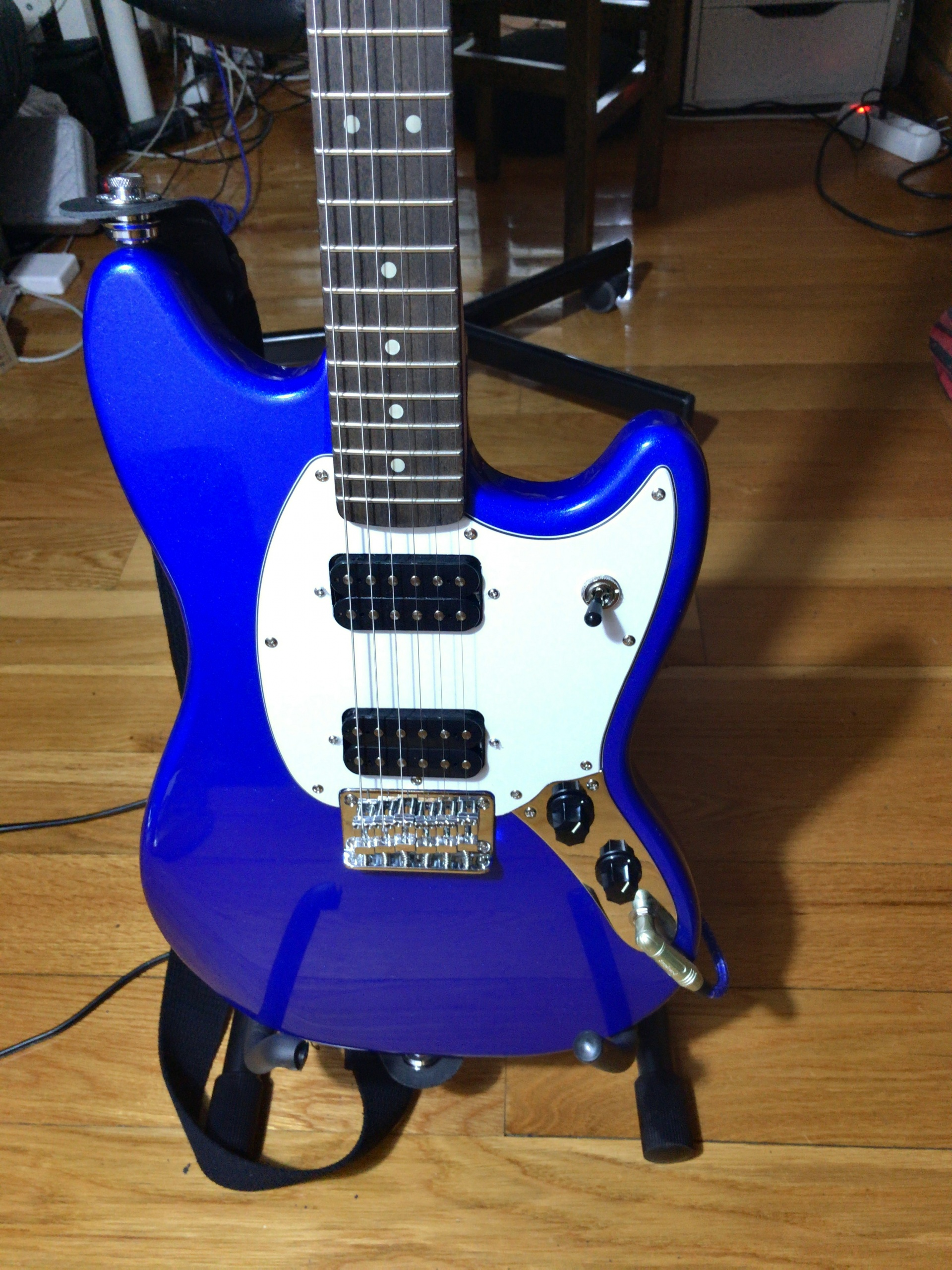 Blue Squier Bullet Mustang body before the mod